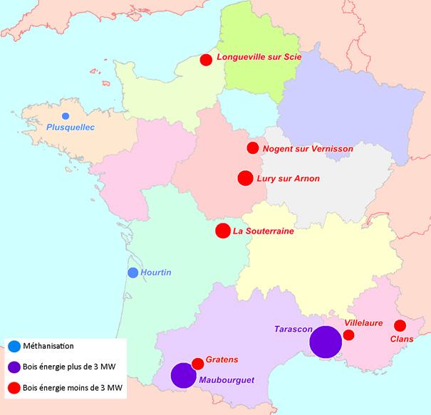 Localisation des projets retenus dans le cadre de l'AAP biomasse